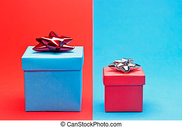 Red and blue present