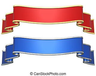 Red and blue ribbons