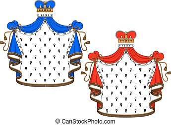 Red and blue royal mantles - Royal mantle with king crown in...