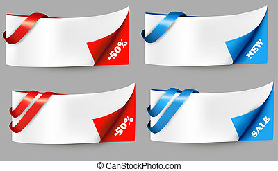 Red and blue sale banners with ribbons. Vector.