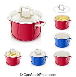 Red and blue saucepan with lid. Kitchen tableware.