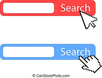 Red and blue search bar vector icon
