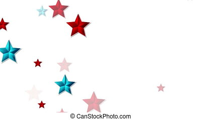 Red and blue shiny stars abstract video animation