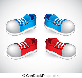 red and blue shoes - illustration of red and blue shoes with...