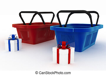 red and blue shopping baskets