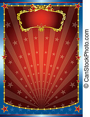 Red and blue show - A blue circus background for a poster...