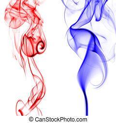 Red and blue smoke patterns