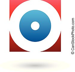 Red and Blue Square Icon of a Thick Letter O Vector Illustration