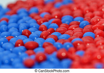 red and blue synthetic polymer resin