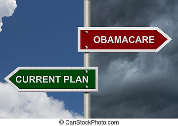 Red and blue street signs with blue and stormy sky with words Current Plan and Obamacare, Current Plan versus Obamacare