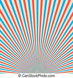 Red and blue sunbeams background. Vector illustration. -...