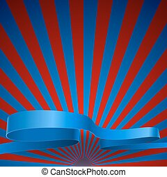 Red and blue sunburst vector background with blue ribbon.