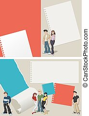 teenager students - Red and blue template for advertising...