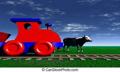 red and blue toy train passing cows