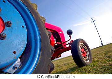 Colorful tractor colored in red and blue