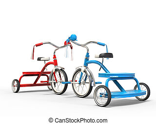 Red and blue tricycles on white background