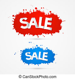 Red and Blue Vector Sale Blots, Splashes Icons