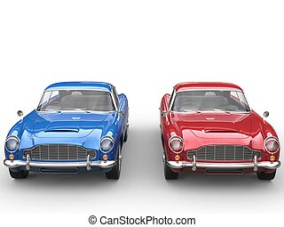 Red and blue vintage cars