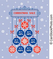 Red and blue vintage tag for xmas sale