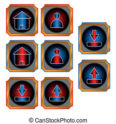 Red and blue web buttons