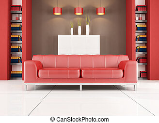 red and brown contemporary living room - red leather sofa in...