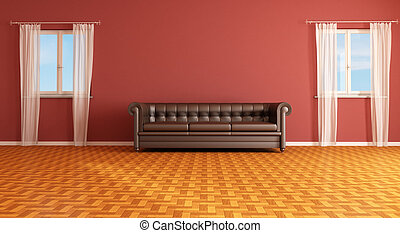 red and brown living room - Red interior with classic...