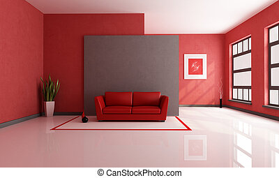 red and brown minimalist living room - rendering - the art picture on wall is a my composition