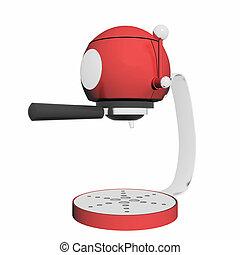 Red and chrome single espresso coffee machine, 3D illustration