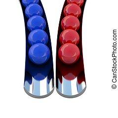 Red and dark blue balls
