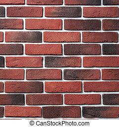 Red and dark brick wall. Block background