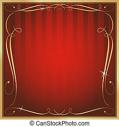 Red and Gold Blank Square Striped Ornate Vector Background -...