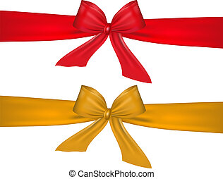 Red and gold bow on white backgrou