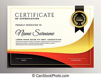red and gold business certificate template