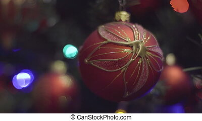 Red and Gold Christmas and New Year Decoration. Abstract...