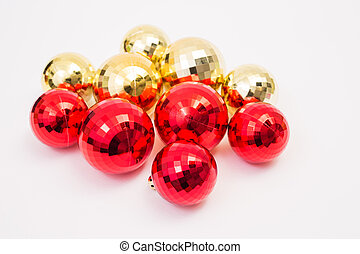 Red and gold Christmas ball on white background