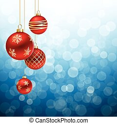 Red and gold Christmas Balls on Blue flare Background