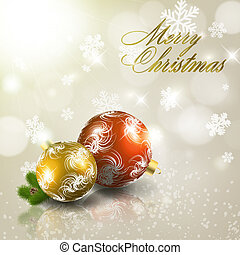 Red and gold christmas balls on light grey background