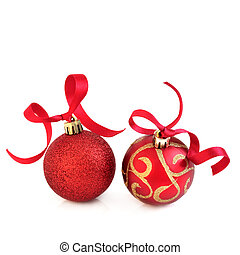 Red and Gold Christmas Baubles - Christmas baubles in...