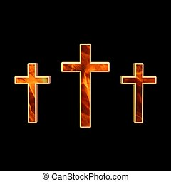 crosses - red and gold crosses over black background