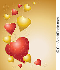 red and gold hearts