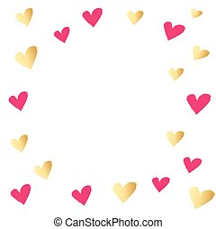 Red and Gold Hearts Isolated on White Background.