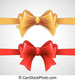 Red and gold holiday ribbon with bow Vector illustration