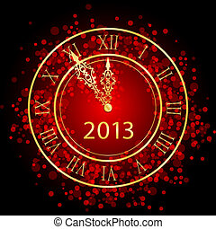 red and gold New Year clock - Vector illustration of red and...