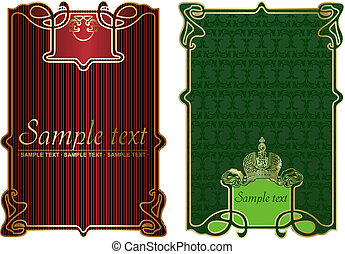 Red And Gold Ornate Banner. Vector Illustration.