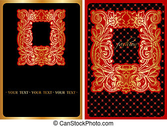 Red And Gold Ornate Cover. Vector Illustration.