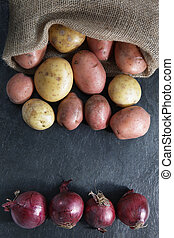 Red and gold potatoes with red onions