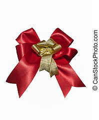 Red and gold ribbon on white