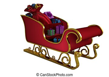 Red and gold santa sleigh on white background