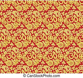Red and gold seamless pattern with OM