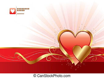 Red and gold Valentines heart - vector illustration